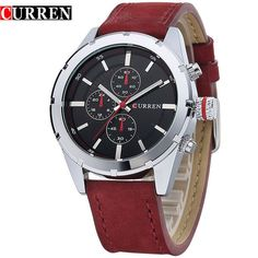 New Luxury Men Fashion Casual Leather Strap Wristwatches Sport Quartz Watches