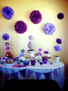 Purple theme birthday for my daughters birthday Purple Birthday, Purple Party, Daughter Birthday, To My Daughter, Daughters, Purple Themes, Party Planning, First Birthdays, Baby Shower