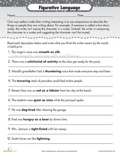 Worksheet Figurative Language Worksheet language figurative and on pinterest