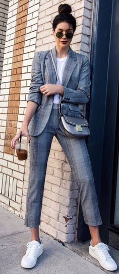 Casual Office Style Obsession Plaid Suit Plus Top Plus Bag Plus Sneakers