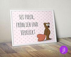 """Bilder - A4 Kinder-Poster """"Bär"""" - ein Designerstück von JessicaLorenzDesign bei DaWanda"""