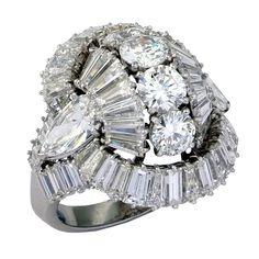 French 1950's Diamond Ballerina Ring