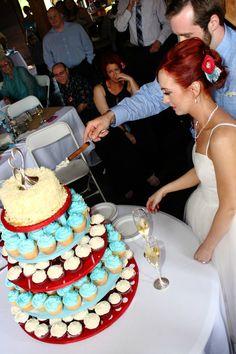 red and aqua cupcake stand
