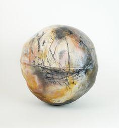 "David Joy, Orb Form, Sager fired porcelain, hand built and thrown, 16.5"" x 16"", 2012"