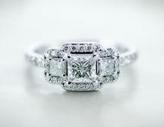 Twinkling Trio Ring || Princess Cut Diamond Halo Ring With White Diamonds In 14k White Gold