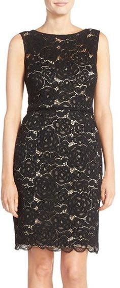 Ellen Tracy Ellen Tracy Belted Lace Sheath Dress available at Types Of Dresses, Cute Dresses, Summer Dresses, Formal Dresses, Suits For Women, Clothes For Women, Lace Sheath Dress, Ellen Tracy, Groom Dress