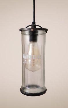 Upcycled Vintage Barber Jar Pendant Lamp