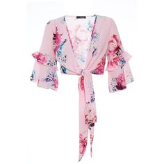 Pink Crepe Floral Wrap Crop Top (110 BRL) ❤ liked on Polyvore featuring tops, pink floral top, floral print crop top, floral wrap top, pink wrap top and flower print top