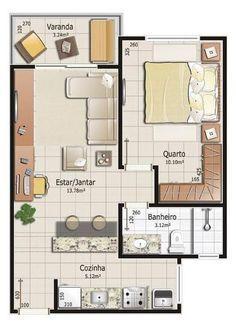 Resultado de imagem para planta casa 3 quartos 3d for Deco de casas pequenas