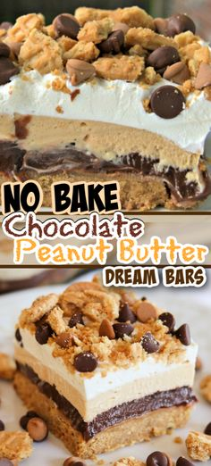 These NO BAKE Chocolate Peanut Butter Dream Bars are crushed peanut butter sandwich cookies, topped Peanut Butter Sandwich Cookies, Peanut Butter Desserts, Köstliche Desserts, Chocolate Peanut Butter, Chocolate Recipes, Chocolate Pudding, Easy Cream Cheese Desserts, Easy Delicious Desserts, Easy Homemade Desserts