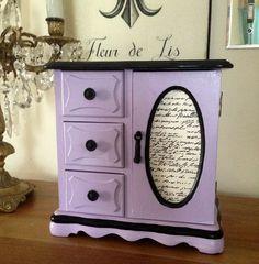 VENDE joyería de madera Vintage caja pintadas lavanda y