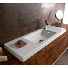 Bathroom Sink, Tecla 3502011, Rectangular White Ceramic Wall Mounted or Built-In Sink 3502011