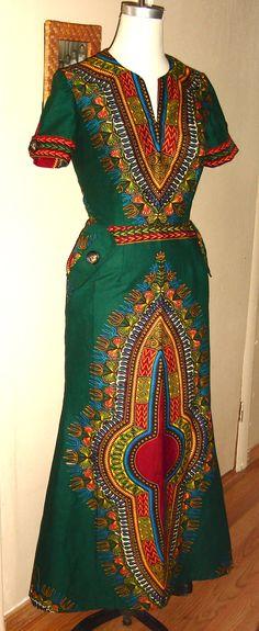 ♥African Fashion ■ Classic Empress Dashiki Dress ■ by JahzaraDesignStudio African Print Dresses, African Print Fashion, Africa Fashion, African Dress, Fashion Prints, Fashion Design, African Prints, African Attire, African Wear