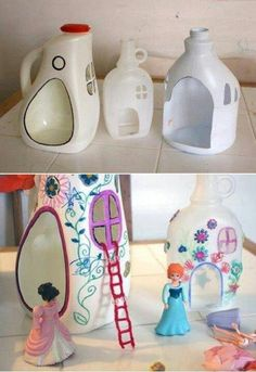 Easy ways to upcycle and recycle milk jugs. Stop wasting your empty milk jugs with these 10 unique ideas! A range of creative ideas from fun to practical. Activities you must try if you have any empty milk jugs lying around. Kids Crafts, Projects For Kids, Diy And Crafts, Craft Projects, Arts And Crafts, Garden Projects, Recycled Projects Kids, Recycling Projects For School, Upcycled Crafts