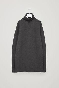 COS image 4 of High-neck sweatshirt dress in Dark Grey