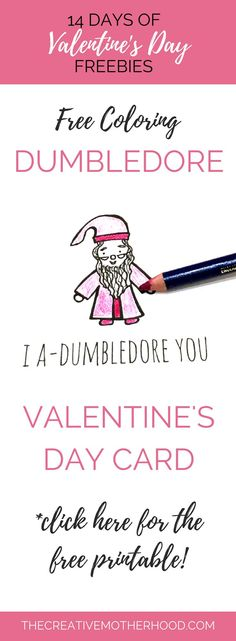 Free printable Valentine's Day card! You can color in this Harry Potter card too.