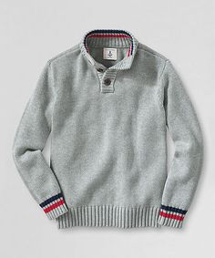 Take a look at this Heather Gray Henley Sweater - Toddler & Boys on zulily today!