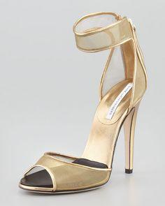 Love gold mesh! Diane von Furstenberg - Rae Mesh Ankle-Cuff Sandal