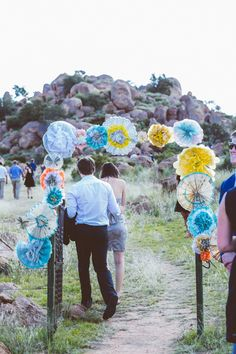 Love paper flowers for outdoor wedding decor