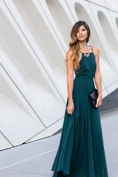 Emma Forest Green Flowy Maxi Dress $71
