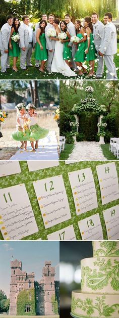 Green wedding inspiration. Emerald green, steel or dark grey, and more yellow/orange. for the accents.