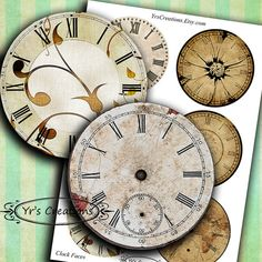 Antique clock faces - Printable Circle Images - vintage clock faces for journaling, mixed media, scrapbooking and paper crafts Clock Face Printable, Clock Faces, Clock Art, Crafts Beautiful, Antique Clocks, Collage Sheet, Digital Collage, Vintage Images, Craft Projects