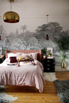 boho glam bedroom with wall mural and pink black and gold accents with linen bed., boho glam bedroom with wall mural and pink black and gold accents with linen bedding Pink Bedroom Design, Gold Bedroom Decor, Glam Bedroom, Bedroom Ideas, Bedroom Black, Bedroom Furniture, Bedroom Murals, Trendy Bedroom, Diy Bedroom