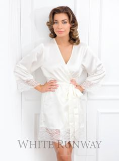 Sian Robe. Soft and silky Homebodii bridesmaid dress robe with lace detailing on the sleeves and hem. Perfect for Make-up and Hair application on the Wedding Day or just to have whilst getting ready! Please measure your Bust for the best fit.