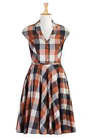 Shawl collar large check dress