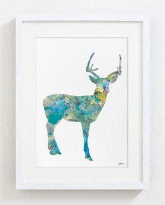 Blue Deer Watercolor Print - 5x7 Archival Print - Deer Painting - Animals - Minimalist Art Deer Print - Wall Decor Art Home Decor Housewares...
