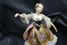 Antique Volkstedt Dresden Lace Porcelain Lady Lamp Base Figurine Germany | eBay