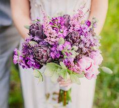 Bouquet with artichokes, lilacs, & hellebores // Brooklyn Music Inspired Wedding: Tara + Travis