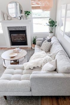 Sven Birch Ivory Right Sectional Sofa Sven Birch Ivory Right Sectional Sofa Make An All White Space Work By Mixing In Different Patterns And Textures Photo By Domestic Blonde Sofa Mcmsofa Midcenturymodern Cozy Living Rooms, Living Room Interior, Home And Living, Modern Living Room Decor, Living Room With Sectional, Condo Living Room, Dining Room, Classy Living Room, Small Living Room Furniture