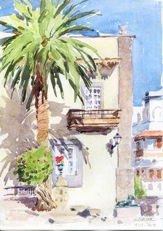 Clases de pintura en Las Palmas. Retratos al óleo.: Acuarela. Plaza de Santa Ana, Gran Canaria.