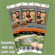 Softball Birthday Invitation Tickets - Customizable with team and photo Girls will love this.