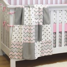 CHEVRON PINK Patchwork Crib Blanket. Traditional patchwork style baby blanket to cuddle your baby girl. An alternative look to the Chevron Pink Crib Blanket with Border. Go to: http://stylemynursery.com/product/chevron-pink-patchwork-crib-blanket/