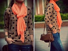 a {little} dash of ash: September 2012. coral scarf, dot sweater
