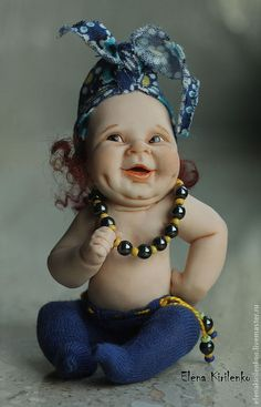 Купить Барыня - тёмно-синий, Кукла-младенец, бусы, living doll, краски масляные, хлопок