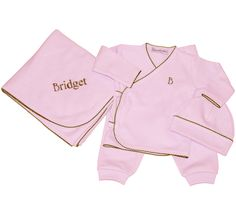 Pink Take Me Home Layette Set with Brown Picot Trim