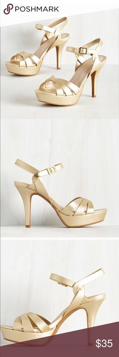 price firm unless bundled Gold heels Girls night out strappy heels. Complete your dance ready look by donning these matte gold heels for q bestirs night out. Flaunting glitzy square buckles, helix inspired ankle straps and dynamic toe bands these vegan faux leather platforms will assure an amazing time. ModCloth Shoes Heels