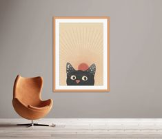Burnt Orange Print, Abstract Sun Printable, Cat Portrait Print Cat Posters, Egg Chair, Accent Chairs, Midcentury Modern, Mid Century, Wall Decor, Abstract, Cats, Furniture