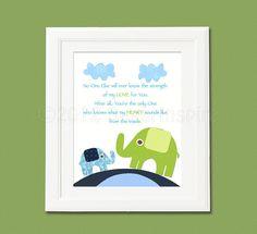 navy and green elephant nursery Art Print, 8x10, kids Room Decor, baby Wall Art - blue, elephant, baby elephant, no one else..