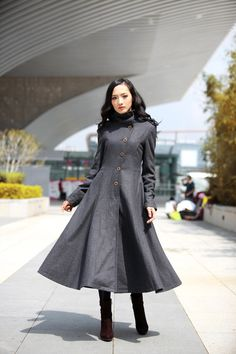 Hey, I found this really awesome Etsy listing at https://www.etsy.com/listing/161624548/dark-grey-coat-big-sweep-high-collar
