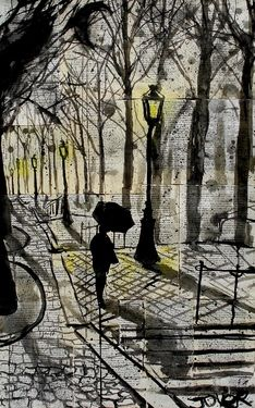 """Loui Jover,  """"Walking In Montmartre,"""" 31.5x 20.1 x 0, Pen and Ink.  I love the faint texture of what appears to be words, and the dark lighting created here in spite of how light the paper is.  The well placed blacks and use of yellow is all well done for the mood."""