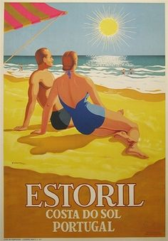 Vintage Travel Beach Poster - Estoril, Costa do Sol Emérico Nunes 1956, Portugal #riviera #essenzadiriviera www.varaldocosmetica.it