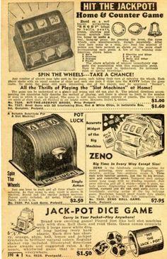 1950 Print Ad Slot Machine Brodi Hit-The-Jackpot, Pot-Luck, Zeno, Jack-Pot Dice | eBay Vending Machine, Slot Machine, Poker Set, Briar Pipe, Hershey Bar, Pot Luck, Chewing Gum, Water Pipes, Print Ads