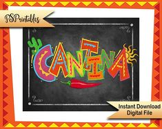 Printable Fiesta Cantina sign in chalkboard style - Birthday, Wedding or Graduation Signage, Cantina Fiesta Poster, mexican party decoration Mexican Fiesta Party, Fiesta Theme Party, Taco Party, Decoration Buffet, Mexican Party Decorations, Party Signs, Sign Printing, Party Printables, Wedding Signs