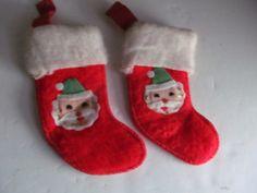 Small Vintage Christmas Stockings Red Santa by ReVintageLannie
