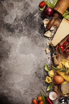 Slate background with space for text by klenova. Italian food background with vine tomatoes, ba Food Background Wallpapers, Food Backgrounds, Food Wallpaper, Italian Food Restaurant, Italian Pasta Recipes, Italian Foods, Food Menu Design, Food Photography Tips, Food Drawing