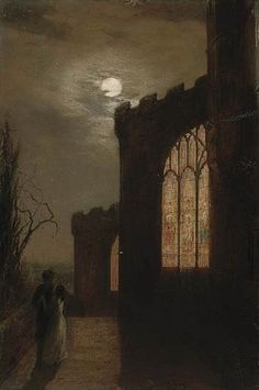 Vespers, 1869 by Augustus Edwin Mulready. Nocturne, Moonlight Painting, Chef D Oeuvre, Moon Art, Horror Art, Dark Art, Les Oeuvres, Painting & Drawing, Landscape Paintings